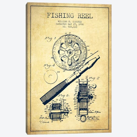 Fishing Reel Vintage Patent Blueprint Canvas Print #ADP1203} by Aged Pixel Canvas Artwork