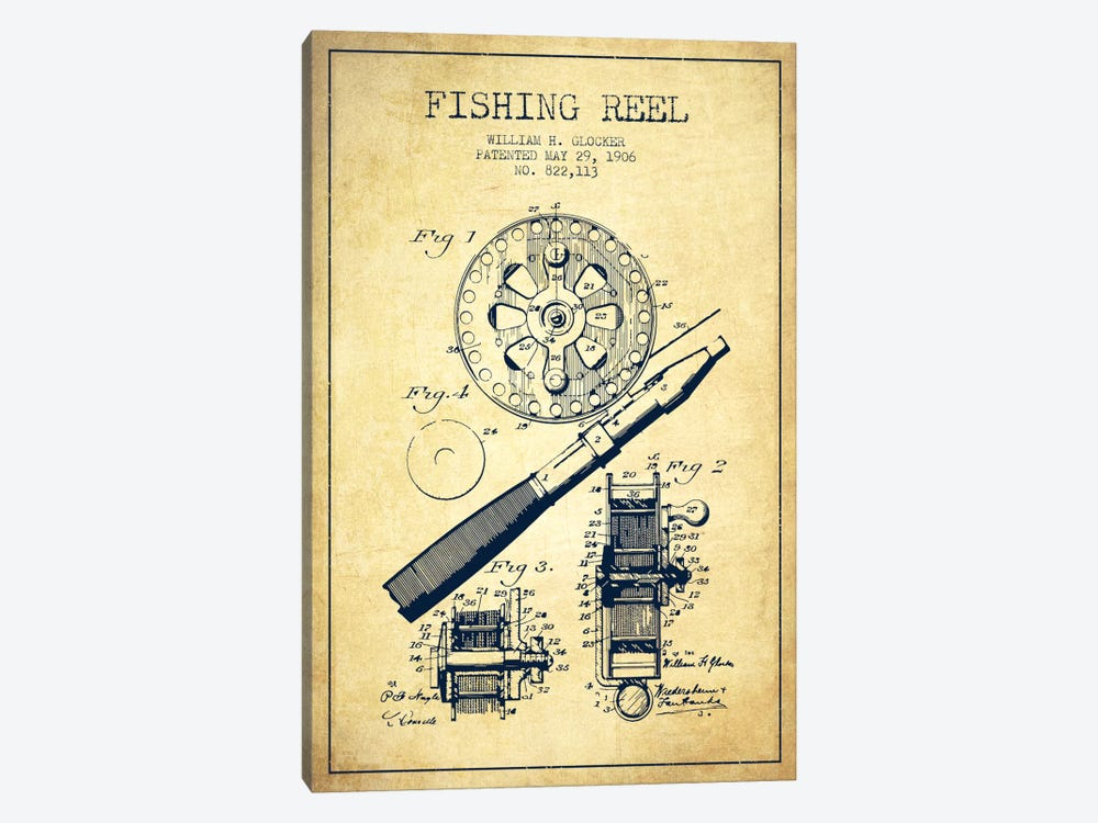 Fishing Reel Vintage Patent Blueprint by Aged Pixel 1-piece Canvas Art