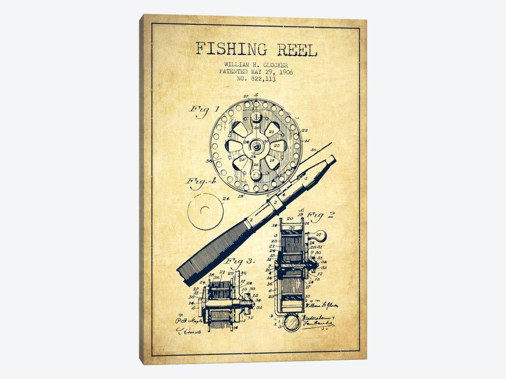 Fishing Reel Vintage Patent Blueprint by Aged Pixel 1-piece Canvas Art