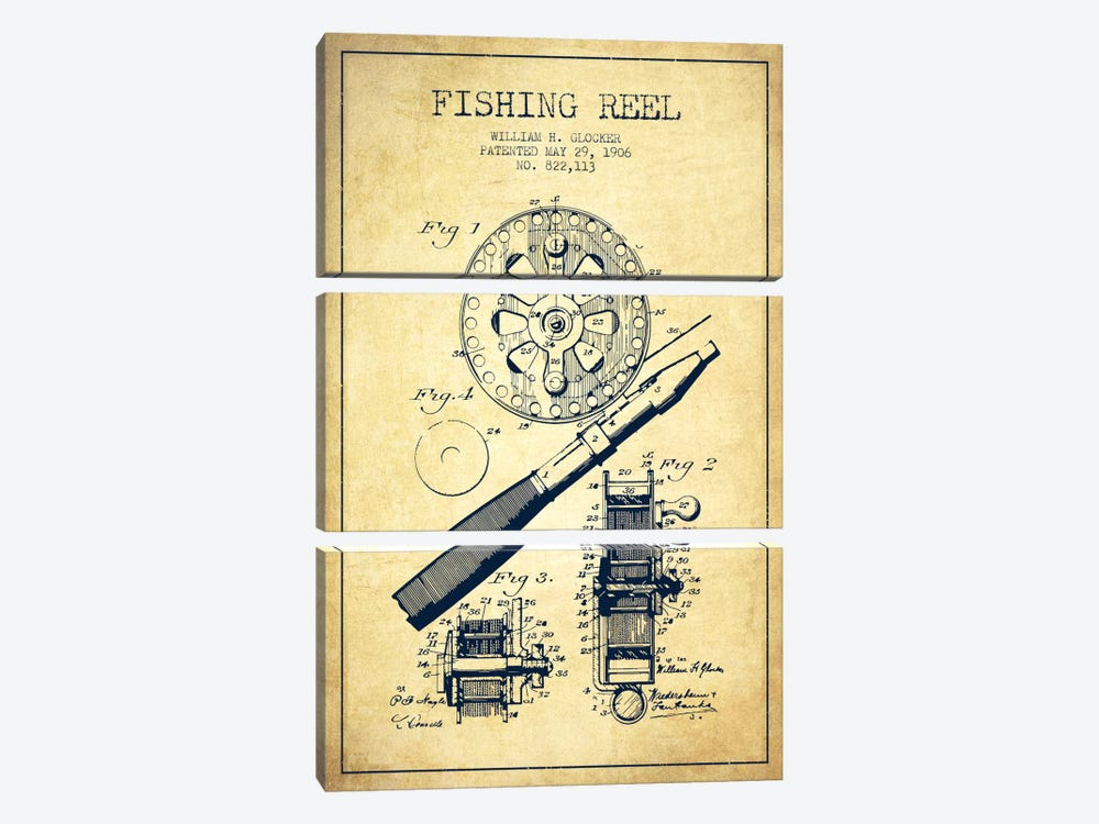 Fishing Reel Vintage Patent Blueprint by Aged Pixel 3-piece Canvas Wall Art