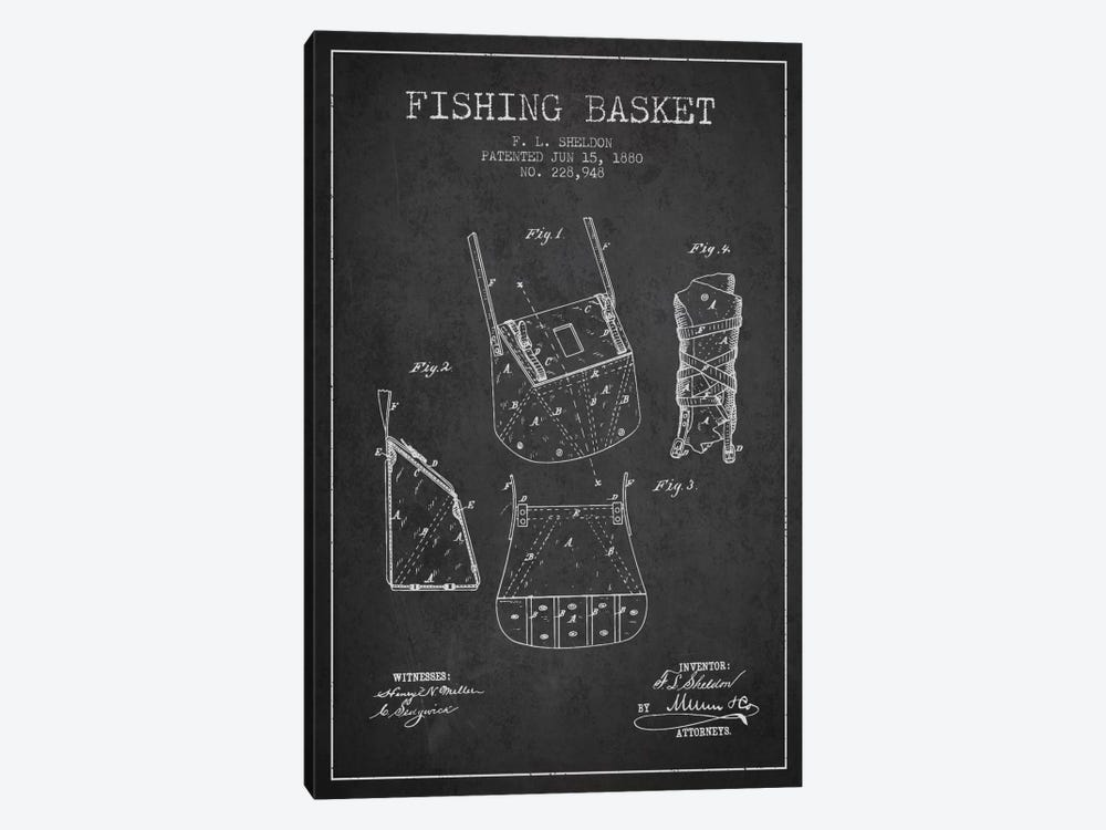 Fishing Basket Charcoal Patent Blueprint by Aged Pixel 1-piece Canvas Print
