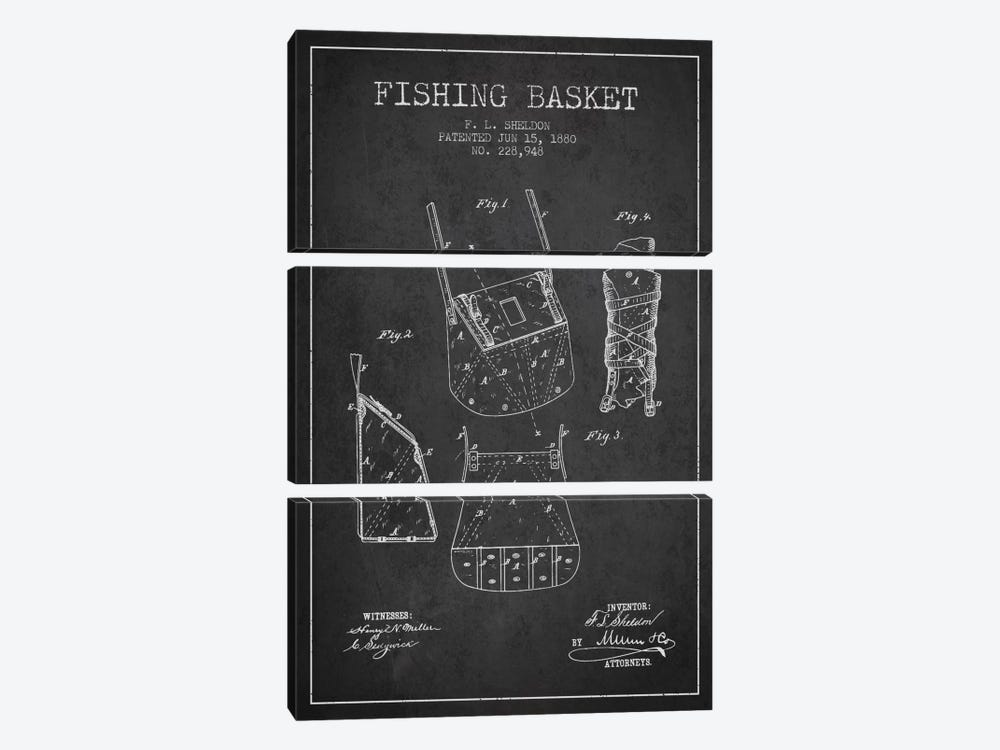 Fishing Basket Charcoal Patent Blueprint 3-piece Art Print
