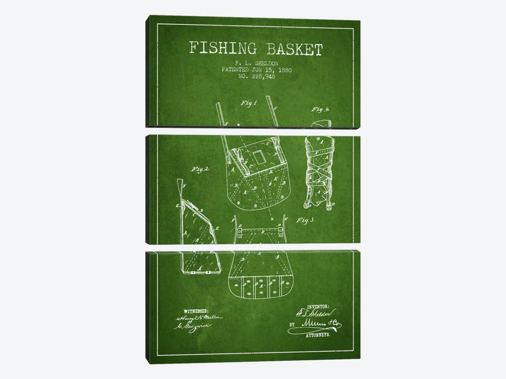 Fishing Basket Green Patent Blueprint by Aged Pixel 3-piece Canvas Artwork