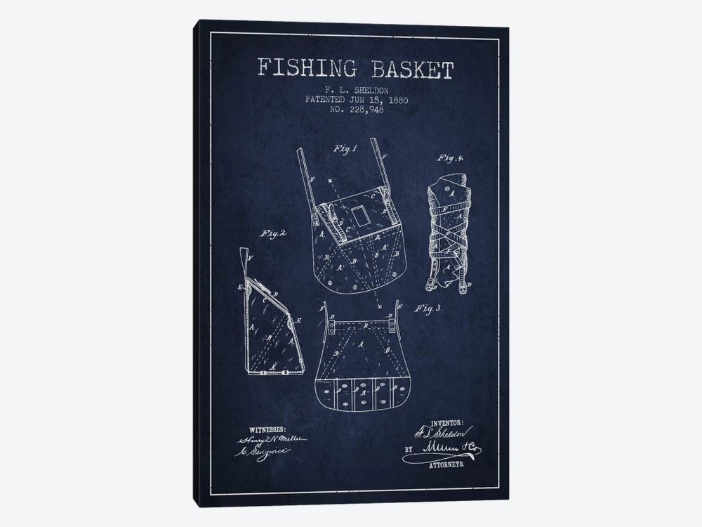 Fishing Basket Navy Blue Patent Blueprint by Aged Pixel 1-piece Canvas Print