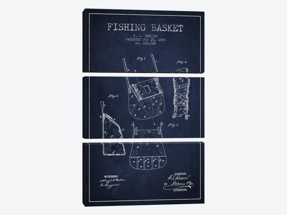 Fishing Basket Navy Blue Patent Blueprint by Aged Pixel 3-piece Canvas Print