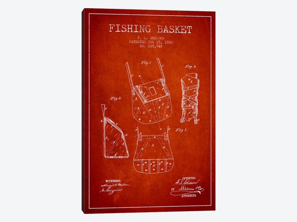 Fishing Basket Red Patent Blueprint by Aged Pixel 1-piece Canvas Wall Art