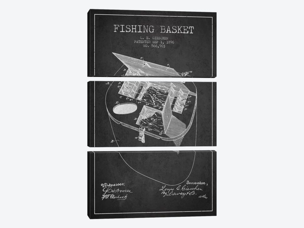 Fishing Basket Charcoal Patent Blueprint by Aged Pixel 3-piece Canvas Wall Art