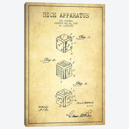 Dice Vintage Patent Blueprint Canvas Print #ADP120} by Aged Pixel Canvas Wall Art