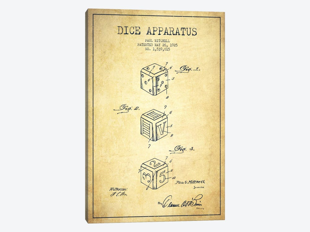 Dice Vintage Patent Blueprint by Aged Pixel 1-piece Canvas Artwork