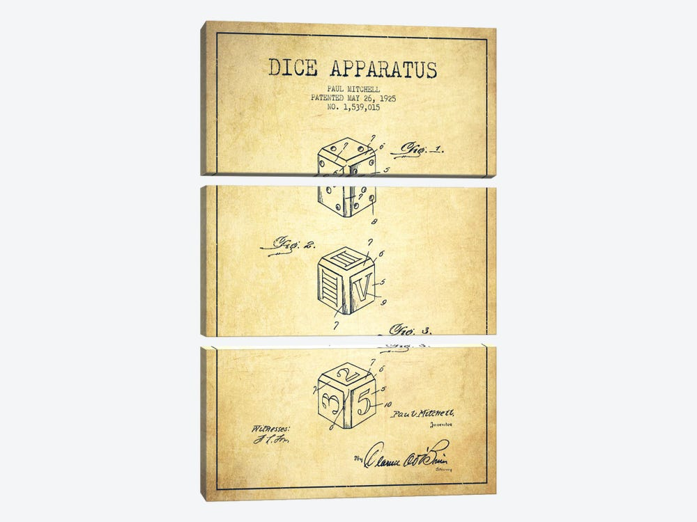 Dice Vintage Patent Blueprint 3-piece Canvas Artwork