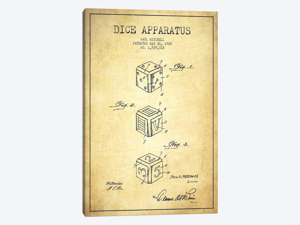 Dice Vintage Patent Blueprint by Aged Pixel 1-piece Canvas Artwork