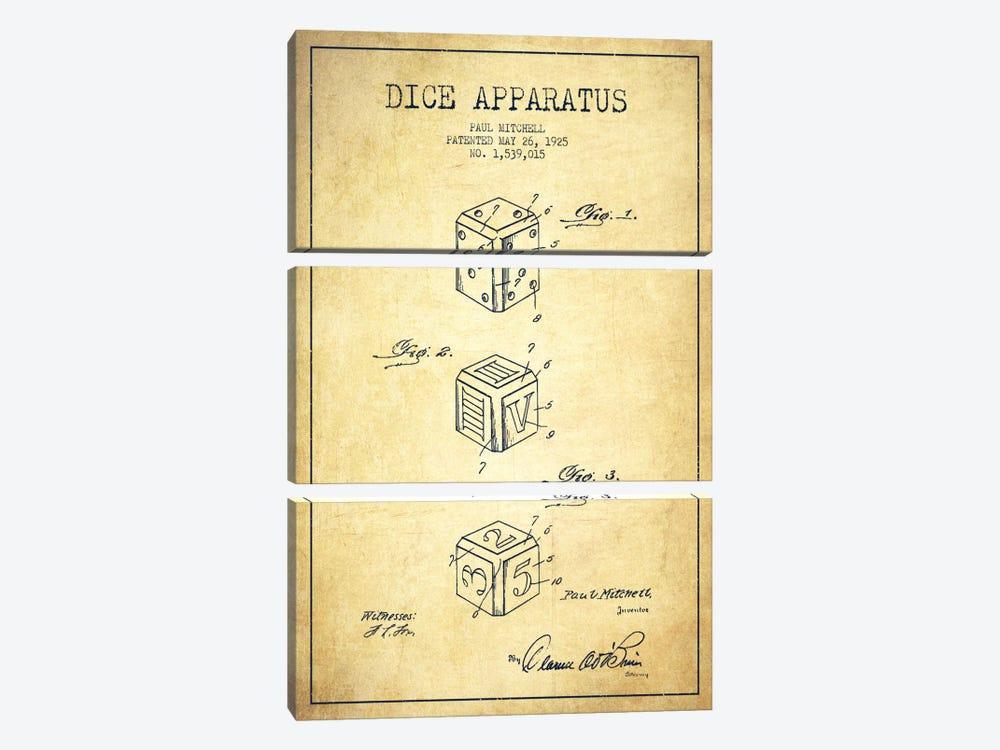 Dice Vintage Patent Blueprint by Aged Pixel 3-piece Canvas Artwork
