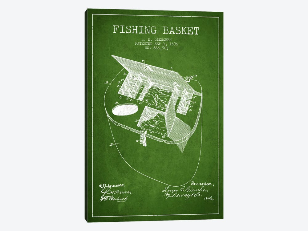 Fishing Basket Green Patent Blueprint by Aged Pixel 1-piece Canvas Artwork