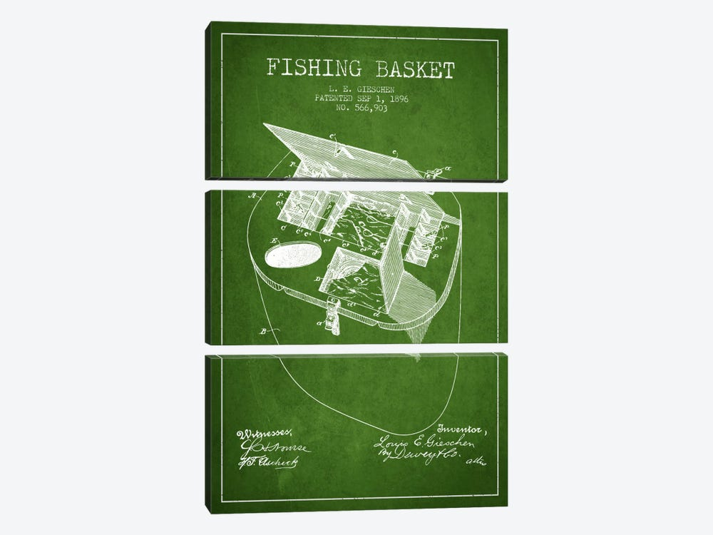 Fishing Basket Green Patent Blueprint by Aged Pixel 3-piece Canvas Wall Art