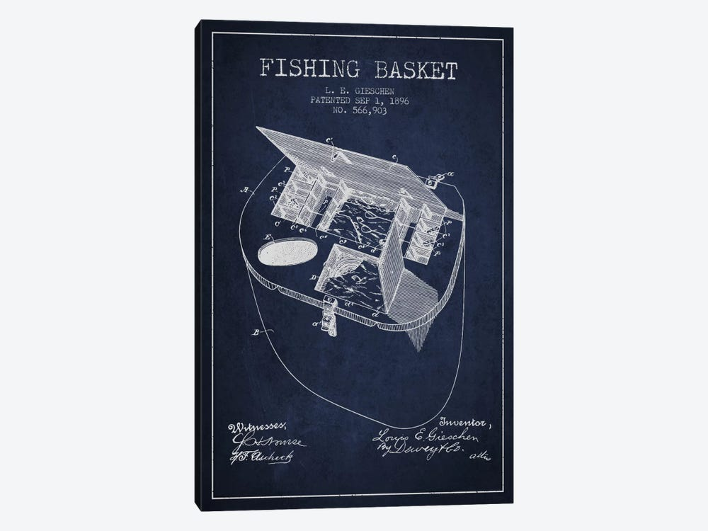 Fishing Basket Navy Blue Patent Blueprint by Aged Pixel 1-piece Art Print