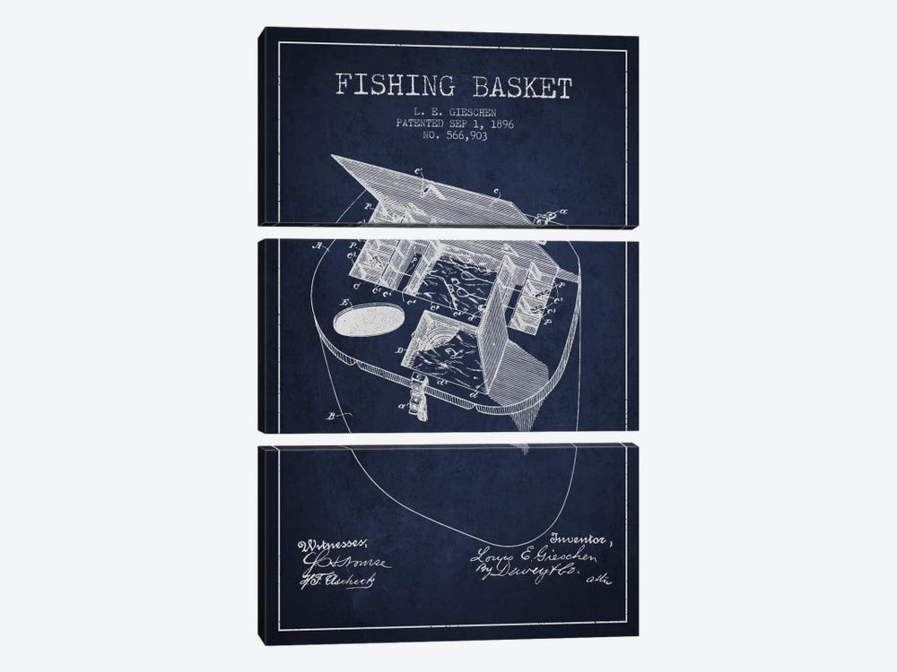 Fishing Basket Navy Blue Patent Blueprint by Aged Pixel 3-piece Canvas Art Print