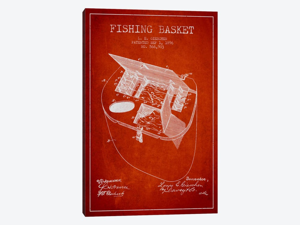 Fishing Basket Red Patent Blueprint by Aged Pixel 1-piece Canvas Art