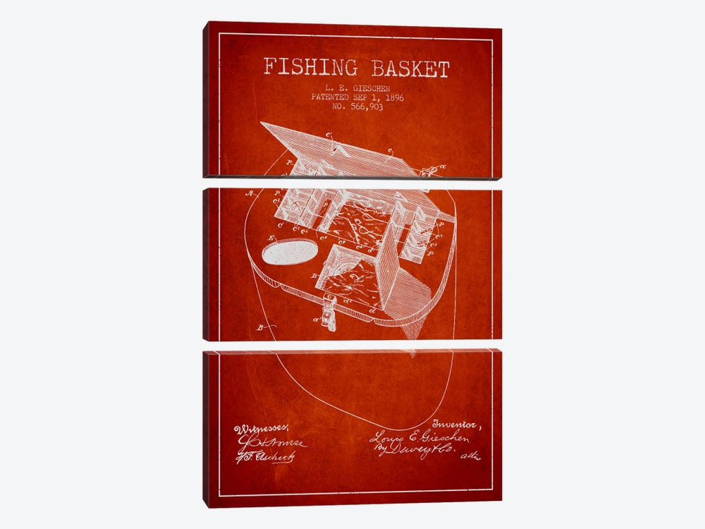 Fishing Basket Red Patent Blueprint by Aged Pixel 3-piece Canvas Artwork