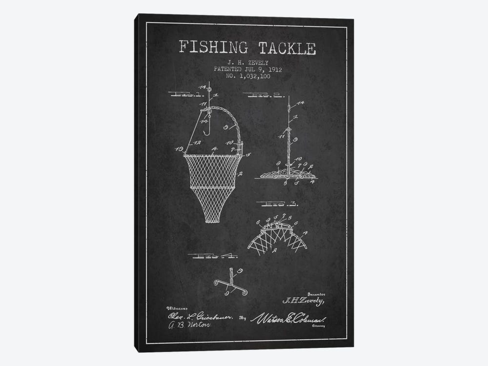 Fishing Tackle Charcoal Patent Blueprint by Aged Pixel 1-piece Canvas Wall Art