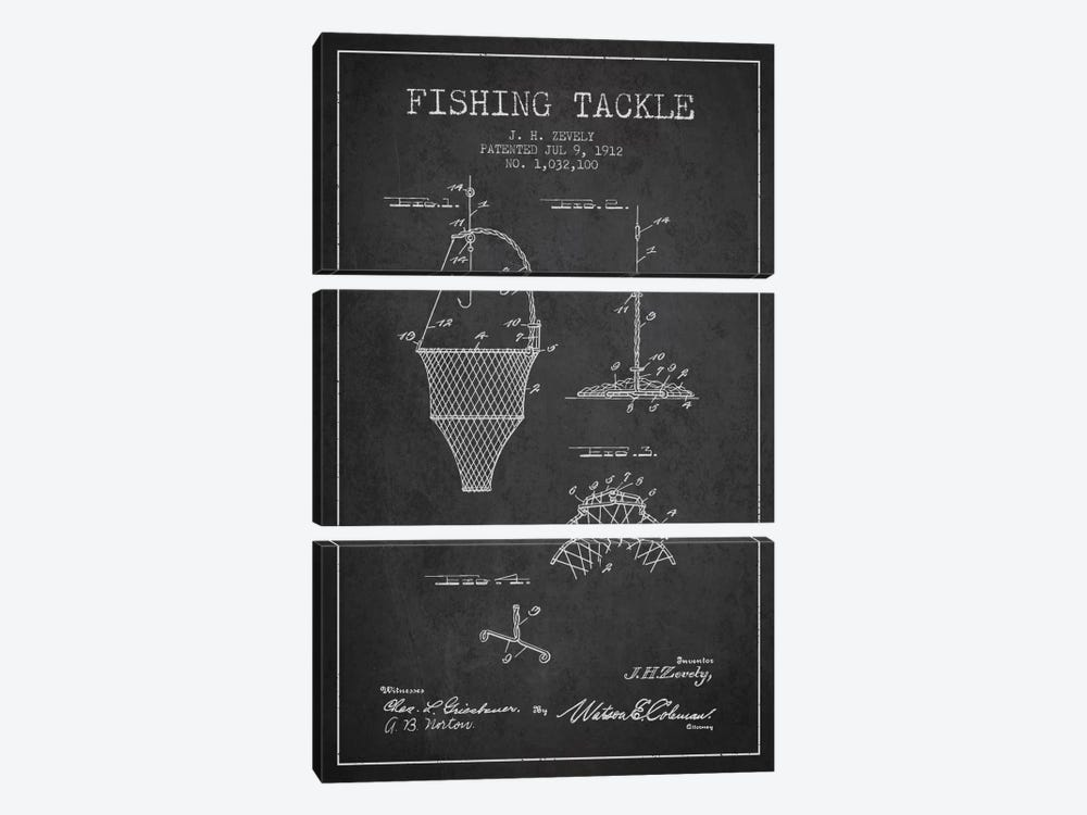 Fishing Tackle Charcoal Patent Blueprint by Aged Pixel 3-piece Canvas Wall Art