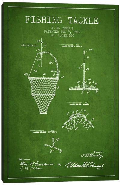 Fishing Tackle Green Patent Blueprint Canvas Print #ADP1215