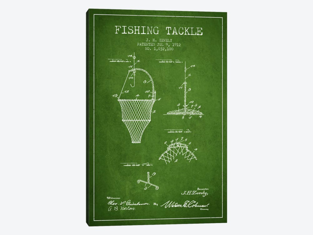 Fishing Tackle Green Patent Blueprint by Aged Pixel 1-piece Canvas Art Print