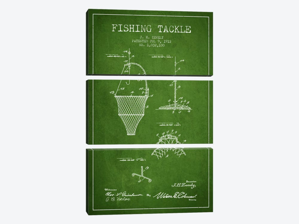 Fishing Tackle Green Patent Blueprint by Aged Pixel 3-piece Canvas Print