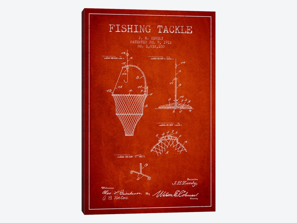 Fishing Tackle Red Patent Blueprint 1-piece Canvas Print