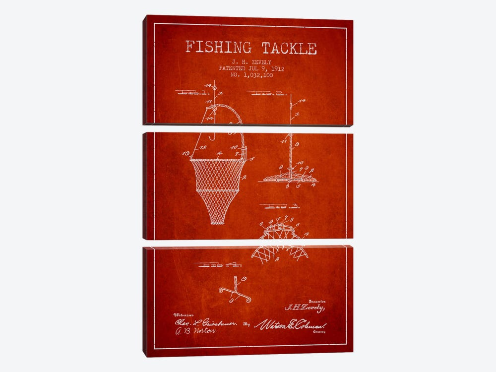 Fishing Tackle Red Patent Blueprint 3-piece Canvas Art Print
