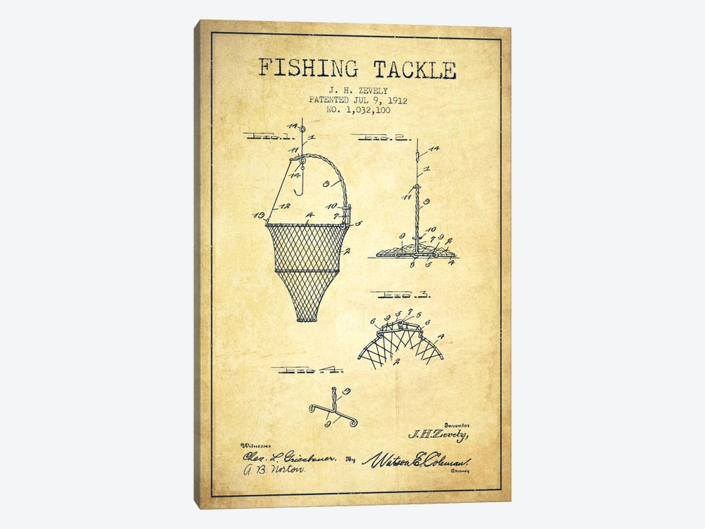 Fishing Tackle Vintage Patent Blueprint by Aged Pixel 1-piece Canvas Art