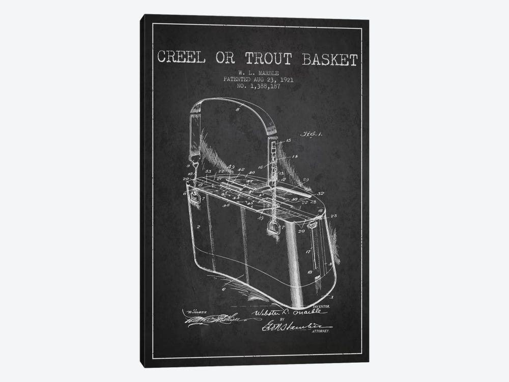 Fishing Basket Charcoal Patent Blueprint by Aged Pixel 1-piece Canvas Art Print