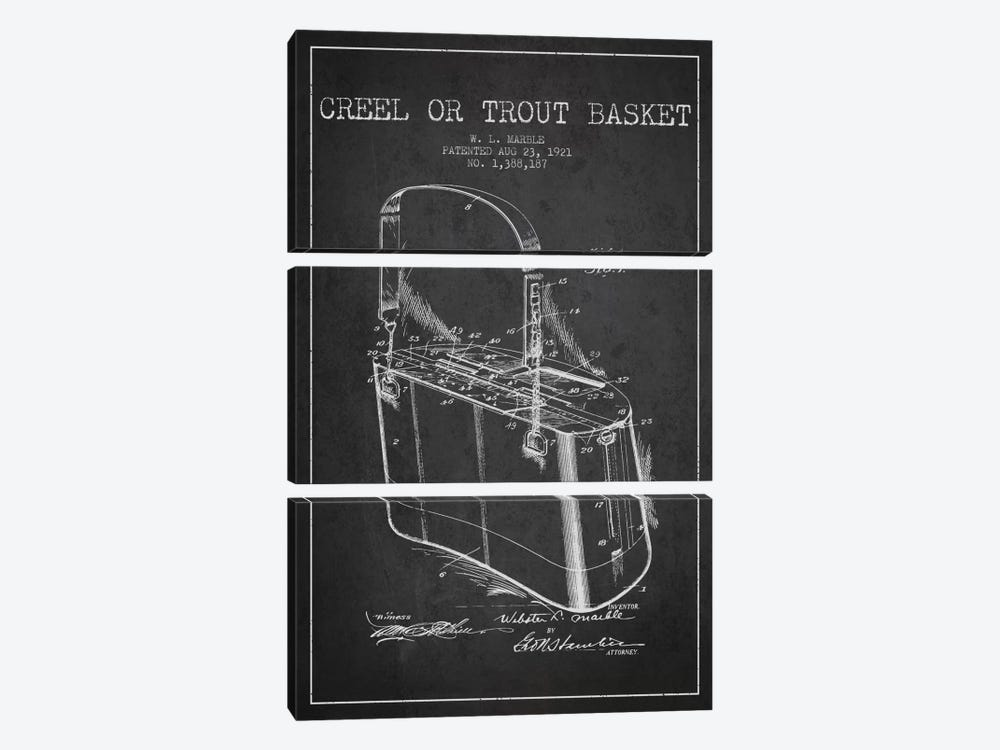 Fishing Basket Charcoal Patent Blueprint by Aged Pixel 3-piece Canvas Print