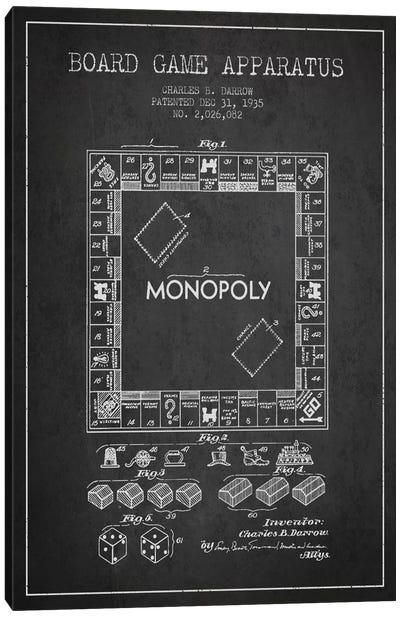 Monopoly Charcoal Patent Blueprint Canvas Art Print