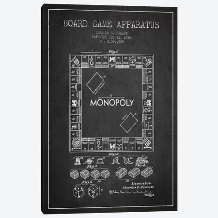 Monopoly Charcoal Patent Blueprint Canvas Print #ADP121} by Aged Pixel Canvas Art