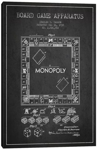 Monopoly Charcoal Patent Blueprint Canvas Art Print