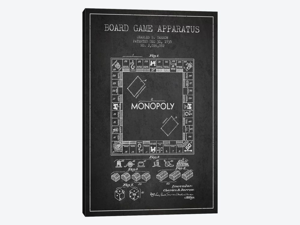 Monopoly Charcoal Patent Blueprint by Aged Pixel 1-piece Canvas Print