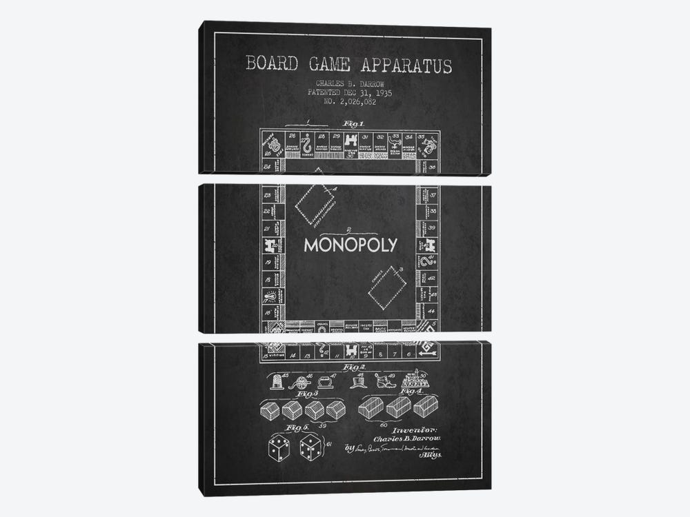Monopoly Charcoal Patent Blueprint by Aged Pixel 3-piece Canvas Print