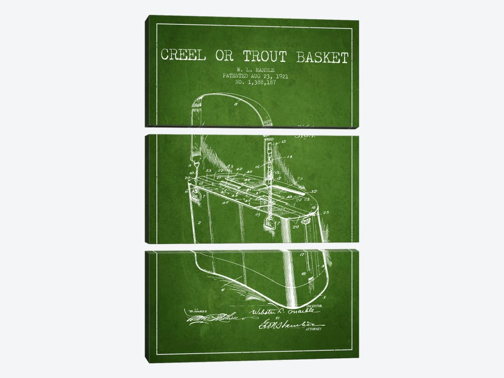 Fishing Basket Green Patent Blueprint by Aged Pixel 3-piece Canvas Print