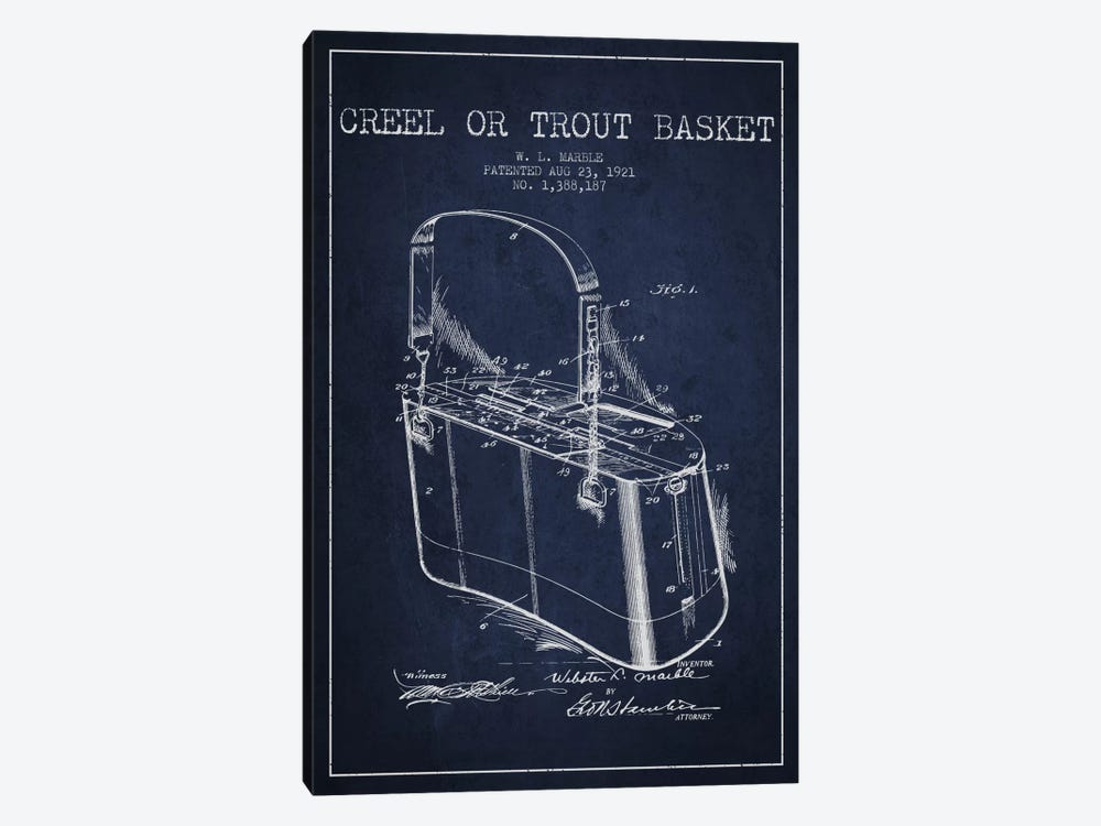 Fishing Basket Navy Blue Patent Blueprint by Aged Pixel 1-piece Canvas Artwork