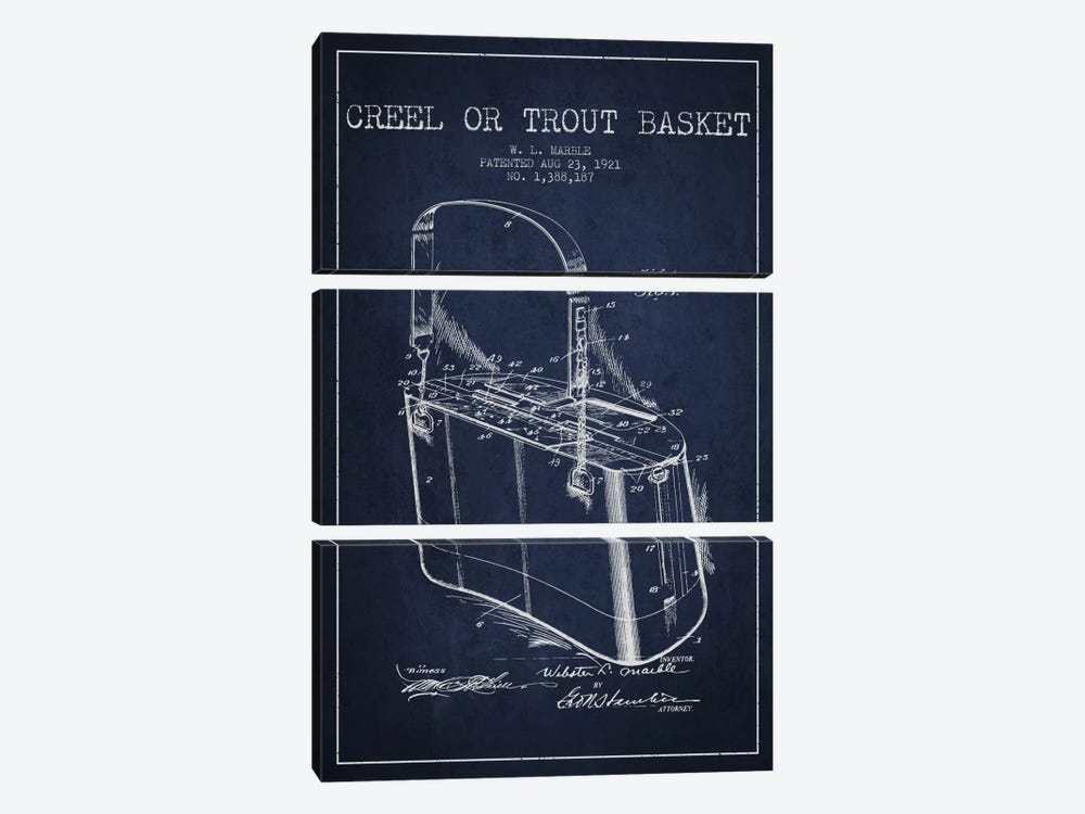 Fishing Basket Navy Blue Patent Blueprint by Aged Pixel 3-piece Canvas Artwork