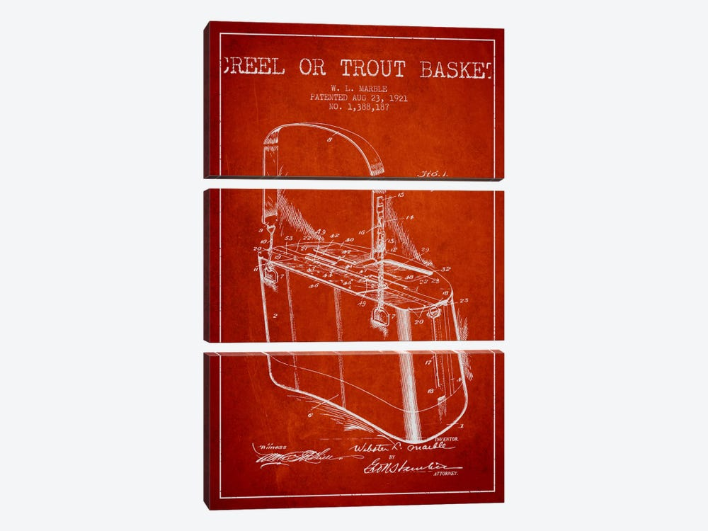 Fishing Basket Red Patent Blueprint by Aged Pixel 3-piece Art Print