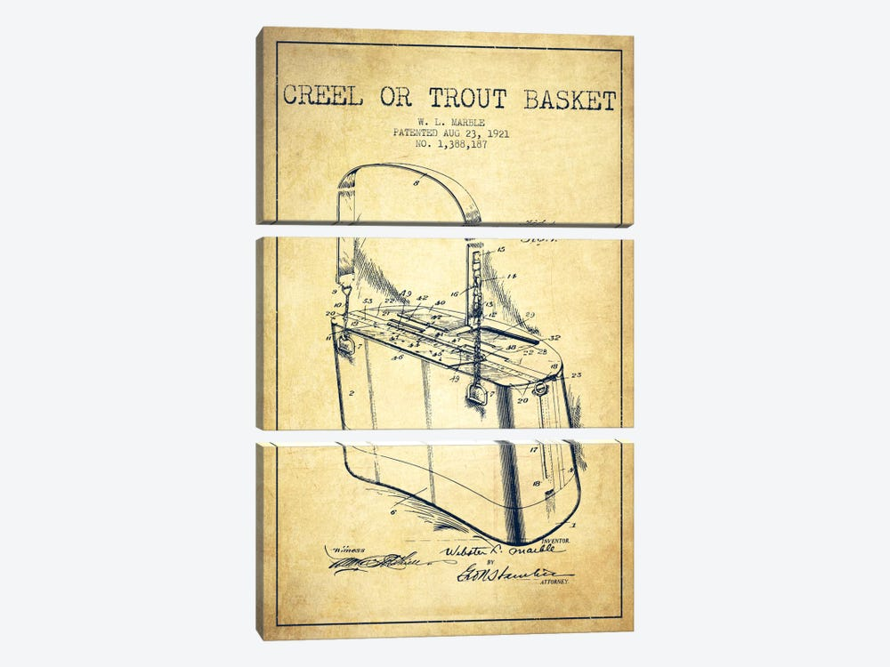 Fishing Basket Vintage Patent Blueprint by Aged Pixel 3-piece Canvas Wall Art