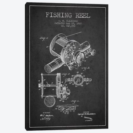 Fishing Reel Charcoal Patent Blueprint Canvas Print #ADP1224} by Aged Pixel Canvas Print