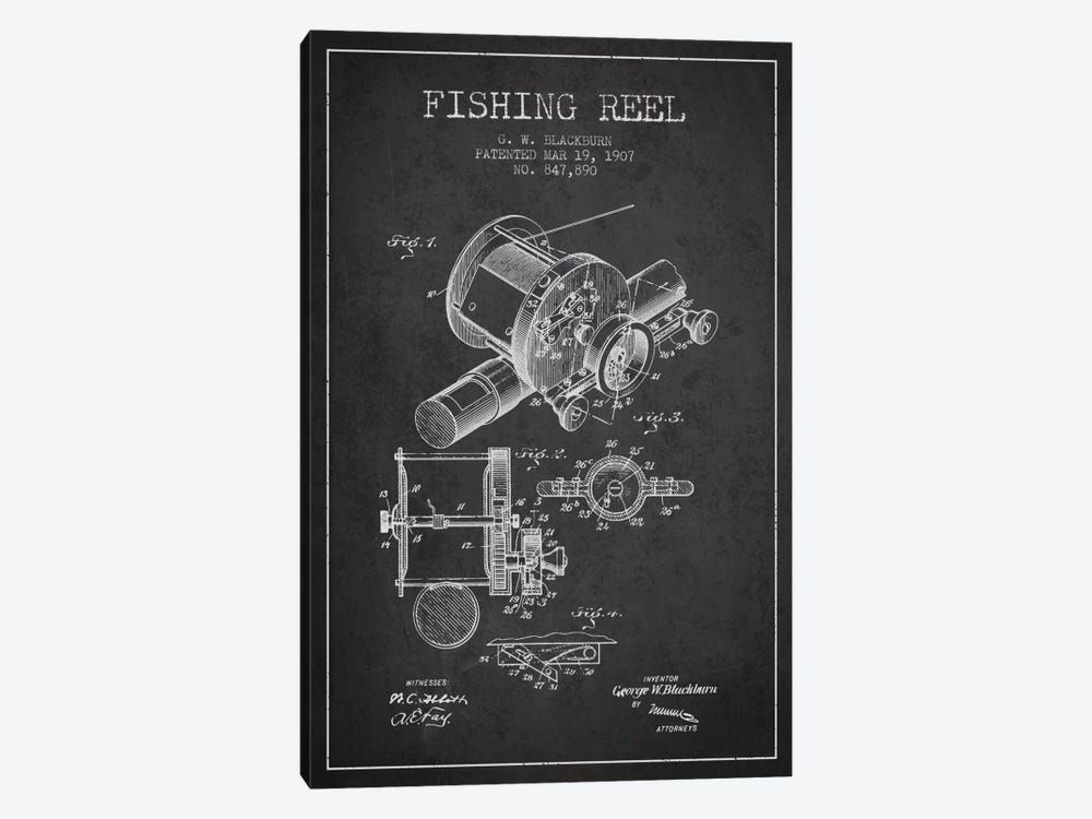 Fishing Reel Charcoal Patent Blueprint by Aged Pixel 1-piece Canvas Print