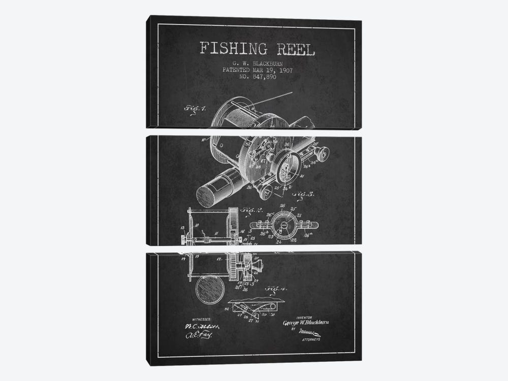 Fishing Reel Charcoal Patent Blueprint by Aged Pixel 3-piece Canvas Print