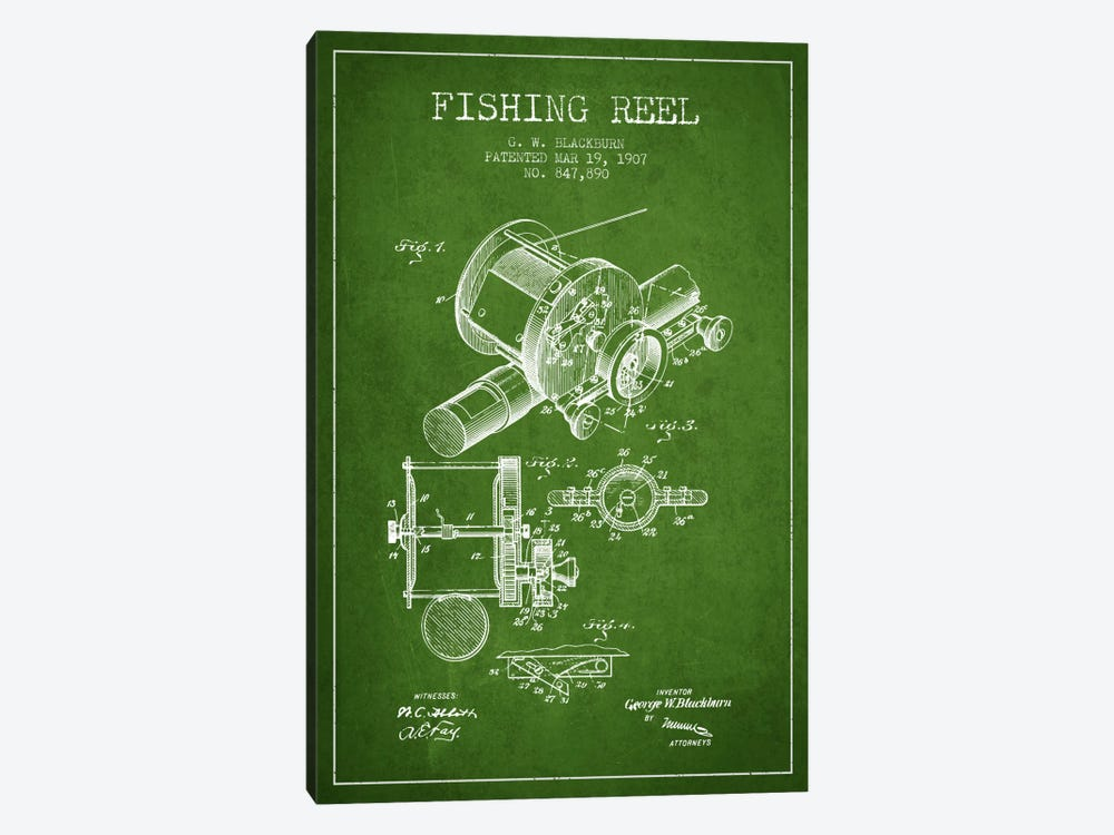 Fishing Reel Green Patent Blueprint by Aged Pixel 1-piece Canvas Wall Art