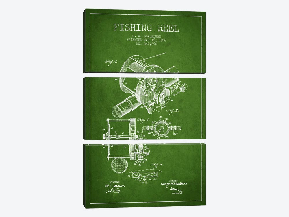Fishing Reel Green Patent Blueprint 3-piece Canvas Art