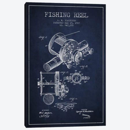 Fishing Reel Navy Blue Patent Blueprint Canvas Print #ADP1226} by Aged Pixel Art Print