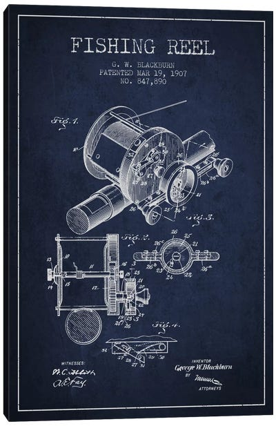 Fishing Reel Navy Blue Patent Blueprint Canvas Art Print