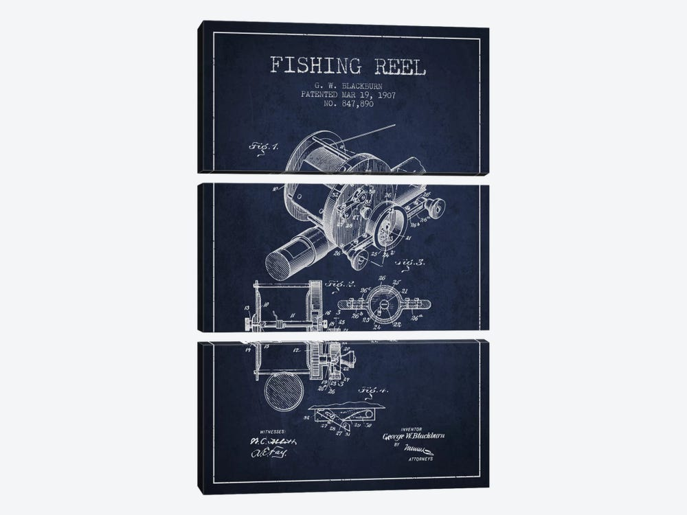 Fishing Reel Navy Blue Patent Blueprint by Aged Pixel 3-piece Art Print